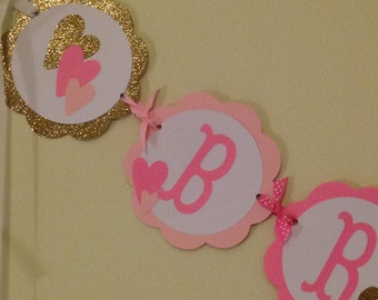 Adorable Pink and Gold Name Banner