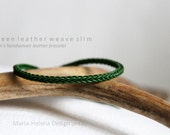green leather weave slim