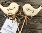 Two Wooden Engraved  Love Birds Cake Toppers Country Chic Rustic Farmhouse Wedding