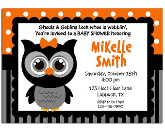 Halloween Owl Invitation Printable - Baby Shower, Halloween Party, Halloween Birthday - Orange Dot Stripe Owl Collection