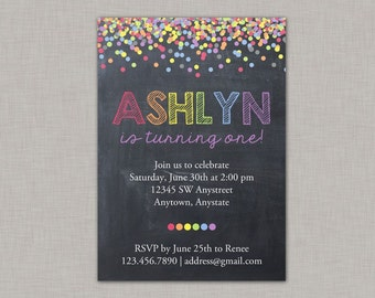 Confetti Birthday Invitation, Rainbow Invitation, Chalkboard Birthday Invitation
