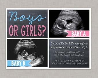 Gender Reveal Invitation, Twin Gender Reveal Invitation, Ultrasound Photo, Twins
