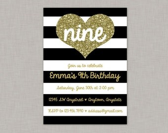 Gold Glitter Heart Invitation, Heart Invitation, Birthday Invitation, Black White Gold