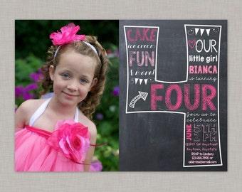 Fourth Birthday Invitation, 4th Birthday Invitation, Girl Birthday Invitation