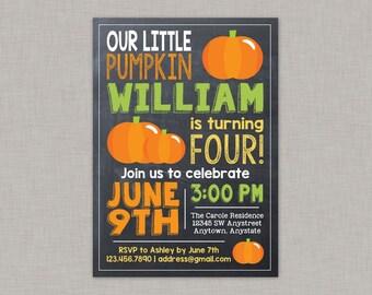 Pumpkin Invitation, Pumpkin Birthday Invitation, Little Pumpkin, Chalkboard