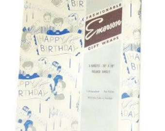 Vintage Wrapping Paper - Happy Birthday Song Gift Wrap - One Full Litho Sheet - Emerson Gift Wraps