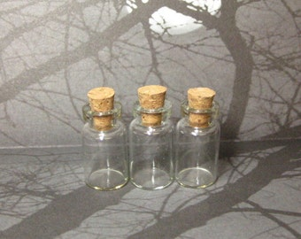 Potion vials with corks empty miniature glass bottles 24mm x 12mm DIY pendants 3pcs small mini wish jar clear tiny dollhouse holds 1ml