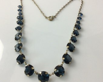 Art Deco Sapphire Crystal Necklace