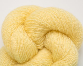 Lemon Yellow Cashmere Lace Weight Recycled Yarn