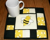 Bumble Bee Candle Mat Mug Rug Quilted Coaster Folk Art Whimsical Decor Yellow Black Mini Quilt