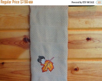 CLEARANCE Fall leaves and acorn kitchen towel for your cabin, lodge, or rustic country kitchen decor