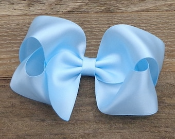 SATIN Hair Bows~Many Color Options~Variety of Sizes Available~Light Blue Satin Hair Bow~SATIN Boutique Bow~Wedding Hair Bow~Boutique Hairbow