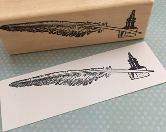 Ink and Feather Pen Rubber Stamp 6299