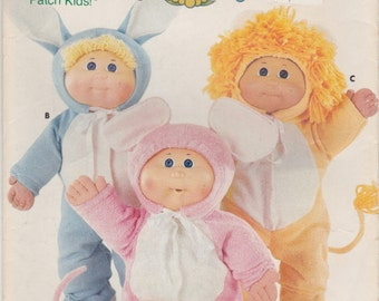 Costumes Doll Clothes, Cabbage Patch Kids  Lion Bunny Mouse  Butterick Pattern  vintage 1986