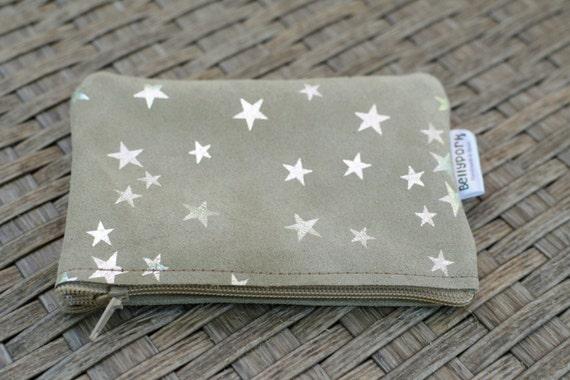 Leather coin purse,coin purse,change purse,stars purse,leather wallet,zippered coin purse,zippered pouch,leather pouch,suede purse,stars