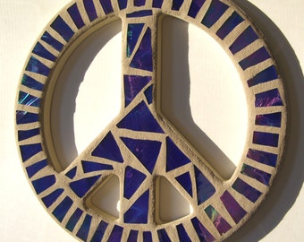 12 Inch Blue Mosaic Stained Glass Peace Sign Mosaic Art Peace Sign Wall Art  Peace Sign Wall Decor Hippie  Art  60's Era Retro Decor
