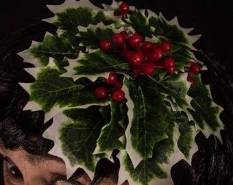 Realistic Holly and Berries fascinator