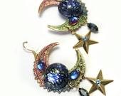 Colorful Handmade Large Big Crescent Celestial Earrings, celestial dangle earrings, fantasy earrings, big crescent earrings, upcycled, ooak