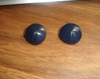 vintage clip on earrings blue enamel