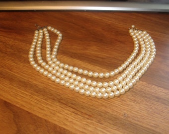 vintage necklace 4 strand faux pearls monet