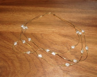 vintage necklace 3 strand goldtone chain faux pearls