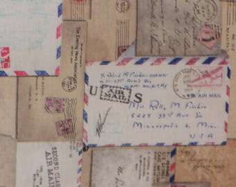 Tim Holtz Fabric Correspondence,  Air Mail Letters, Vintage Envelopes, Coats and Clark Eclectic Elements, Quilting Cotton, By the Yard