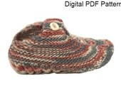 One Size Travel Pocket Slipper Socks # 2 Knitting  PDF Pattern Is not a finished product. It is a PDF Pattern with DIY instructions  .