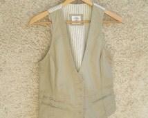 Vintage Khaki Cotton Vest, Women Jacket Cut redingote, Real pockets Buttons Perfect condition, Swedish retro fashion, Size  S 8 UK 6 US