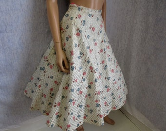 "50s 24"" Morris Watkin Circle Skirt Miss Sun Valley White Cotton Silver Lurex"