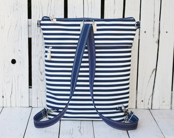 Unique Canvas Backpack, Navy striped rucksack, Nautical Convertible bag, Minimalist backpack, unique gift for women, school bag
