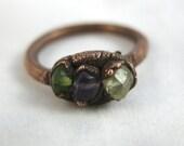 Trio // Amethyst, Citrine, Peridot Copper Electroformed Ring // Raw Crystal//Metaphysical // Crystal Ring // Raw Copper // Earthy // Organic