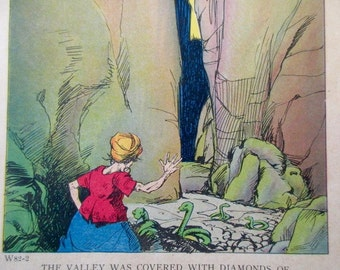 original page - color- 1920s book - valley, snakes, diamonds