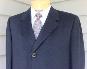 vintage 1960's -Macy's Men's Store- Men's SB Overcoat. Imported Cashmere in Jet Black. Size 40 - 42. Almost perfect.