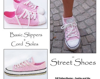 E-Book for Sneaker Classic Crochet Slippers - and Customized CORD-Soles - 2 patterns. Instant Download