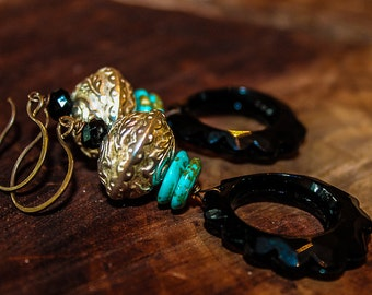 GYPSY RENEGADE, turquoise, dangle earring, Boho, vintage lucite, ornate silver