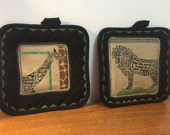 Inspirational - Zebra - Lion - Giraffe - Wildlife Potholder Set