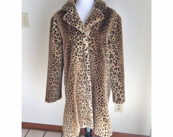 Faux Leopard Print Long Winter Coat