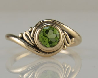 R1013- 14ky Gold Peridot Ring- One of a Kind