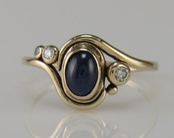 14ky Gold Blue Sapphire and Diamond Ring- One of a Kind