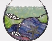 Stained Glass Suncatcher, Abstract Ocean Tide Pool with Sea Star, Starfish