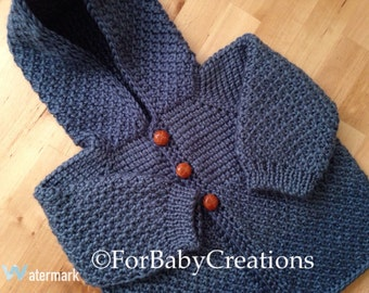 Country Blue Crochet Sweater with Hood for Boy or Girl - MADE TO ORDER - Tunisian Crochet - Handmade
