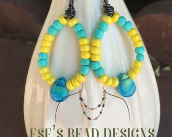 Colorful Summer Hoop Earrings with Teardrop Pendants