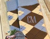 Groom Socks - Carolina Blue - Groomsmen Gift - Grooms Gift - Gift from Bride - Wedding Socks - Blue - Argyle - Brown - Monogrammed Socks