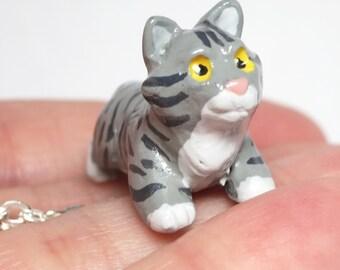 Grey Tabby Cat Necklace