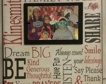 Family Picture Frame Gift, 12x12 Family Rules Subwary Art, Word Art Family Name Sign, Anniversary, Christmas Gift