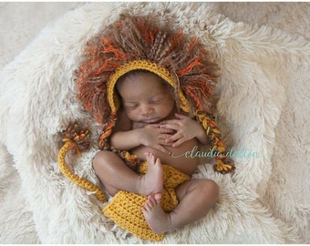Lion Bonnet and Diaper Cover photography prop set - Newborn Photography prop - Great Baby Shower gift!