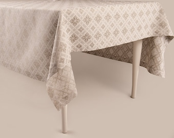 Linen tablecloth Natural table linens. Square or rectangle Jacquard tablecloths in Custom length Rustic look