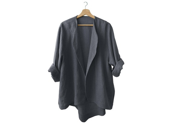 Charcoal linen jacket, soft dark grey jacket for women, linen clothes collection LHI in Wear
