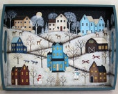 Folk Art Painting Wood Plate -READY TO SHIP -Primitive Winter Scene saltbox houses, snow covered hills, moon, deer, red barn, holiday decor