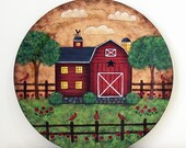 Primitive Folk Art Decorative Wood Plate with Primitive Red Barn, Summertime Country Scene, Cardinals, Red Poppies, Puffy Clouds